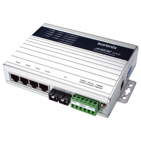 JetNet 3705f-m Industrial 5-port Power Over Ethernet Switch