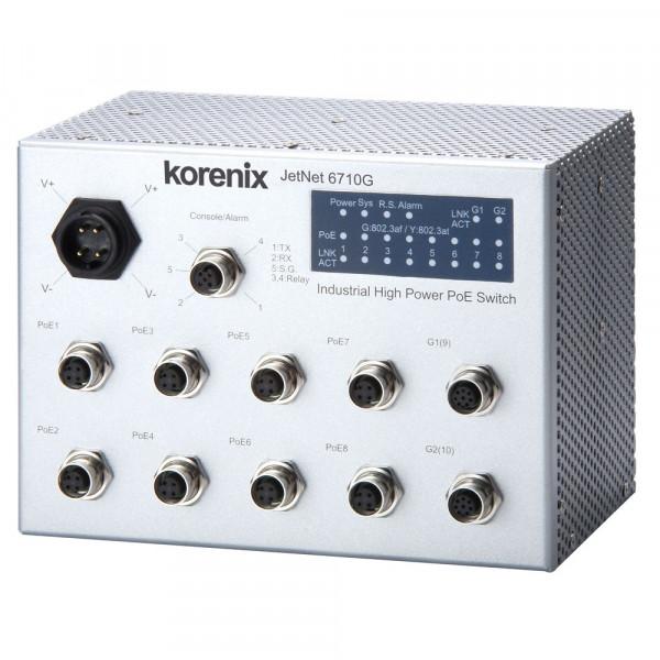 JetNet 6710G-M12 Industrieller 8 PoE + 2G verwalteter M12 highpower IEEE802.3at PoE Switch