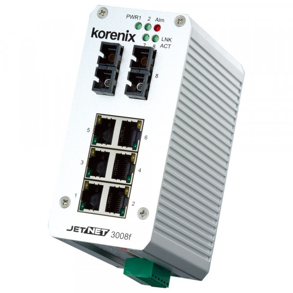 JetNet 3008f-m Industrial 8-port Fast Ethernet Fiber Switch