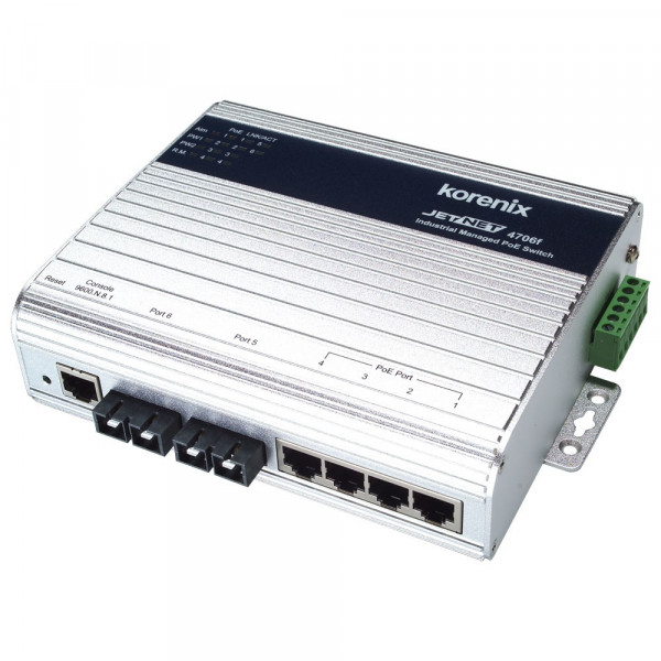 JetNet 4706f-s Industrial 6-port Managed High Power PoE Fiber Switch